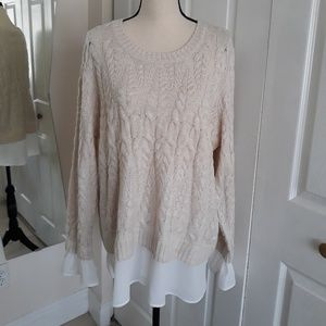 NWT ELLE sweater womens cable Sz 2XL beige